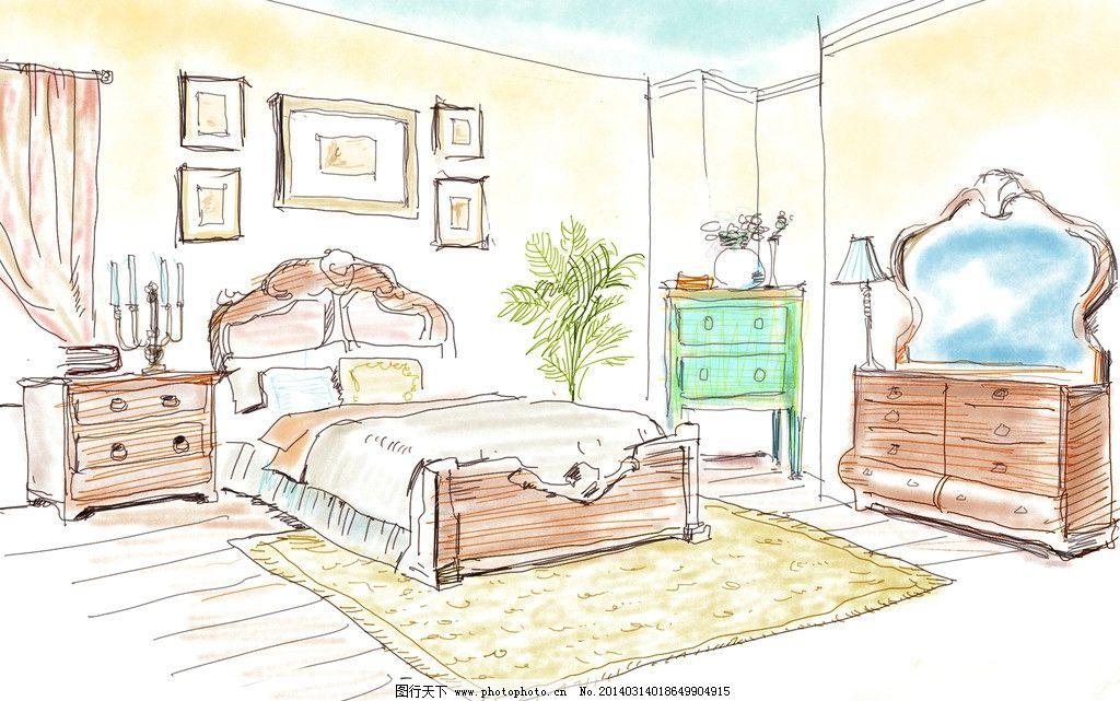 卧室插画图片