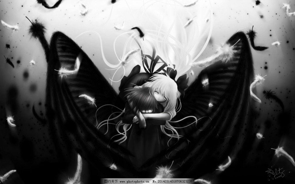黑白漫画 黑白漫画免费下载 动漫 萝莉 少女 天使 拥抱 羽毛