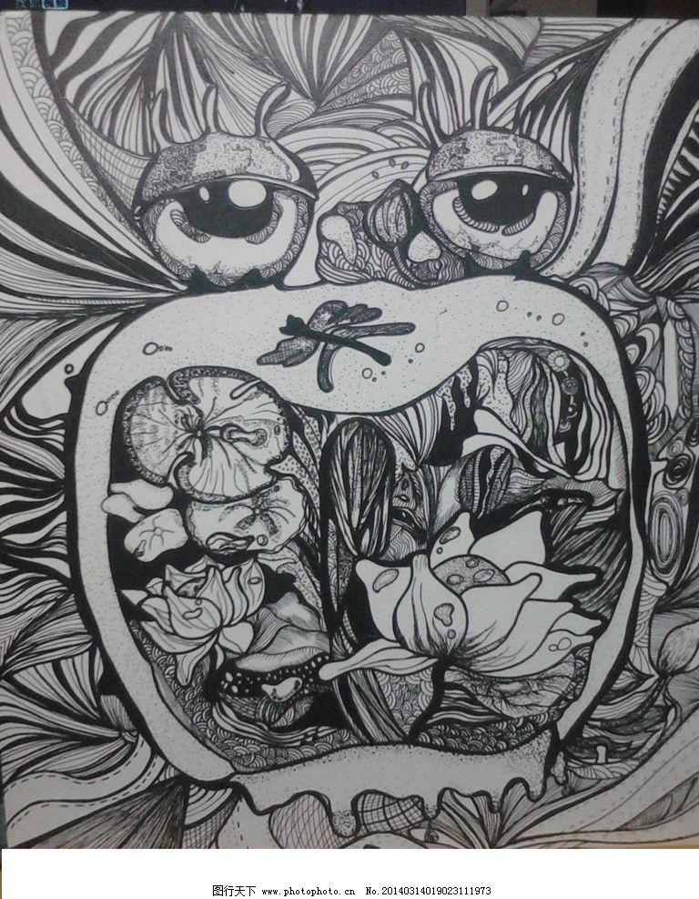 黑白装饰画 黑白画 装饰画 平面构成 手绘 其他 绘画书法 文化艺术