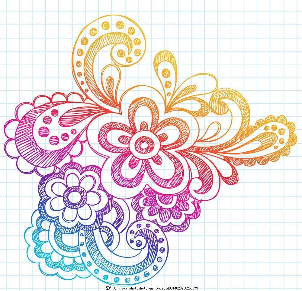 手绘花纹 花纹 精美花纹 线条 植物花纹 抽象花卉 豪华背景 欧式花纹