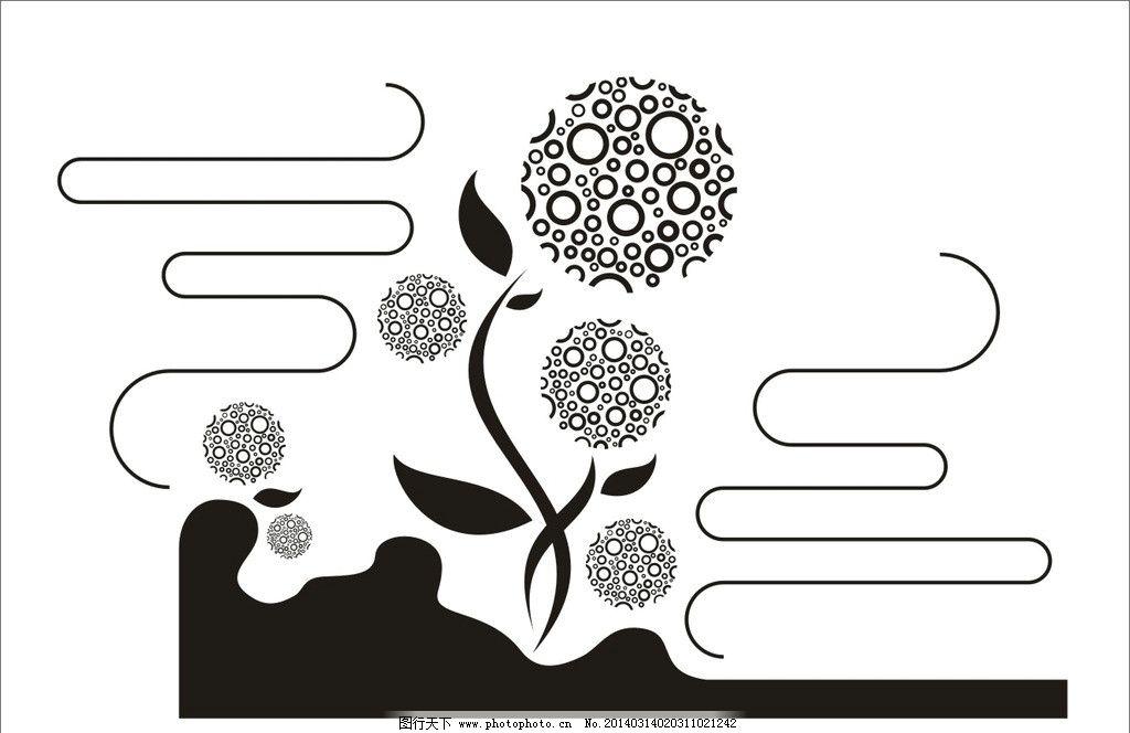 抽象花朵装饰 矢量 黑白 圆圈 花朵 抽象 装饰 叶子 花纹花边 底纹