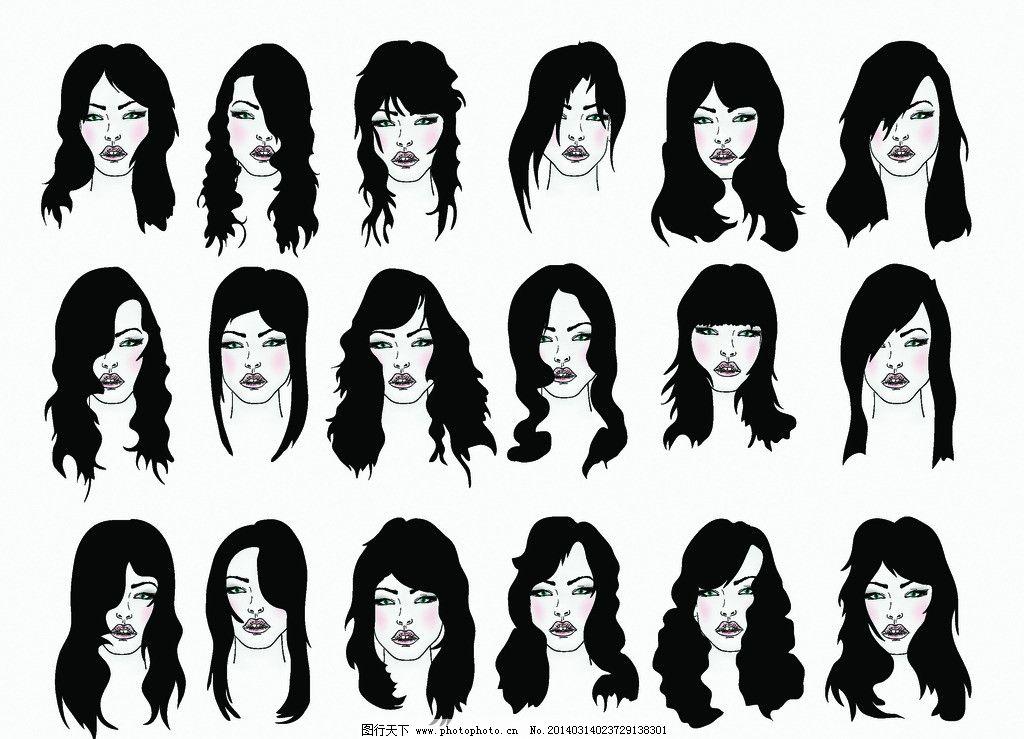 女人 女孩 理发 女郎 美发 手绘 卡通美女 优雅美女 高雅美女 时尚