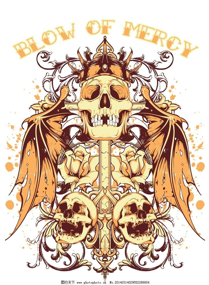 t恤图案 服装设计 骷髅 手绘 复古 怀旧 恐怖 背景 底纹 矢量