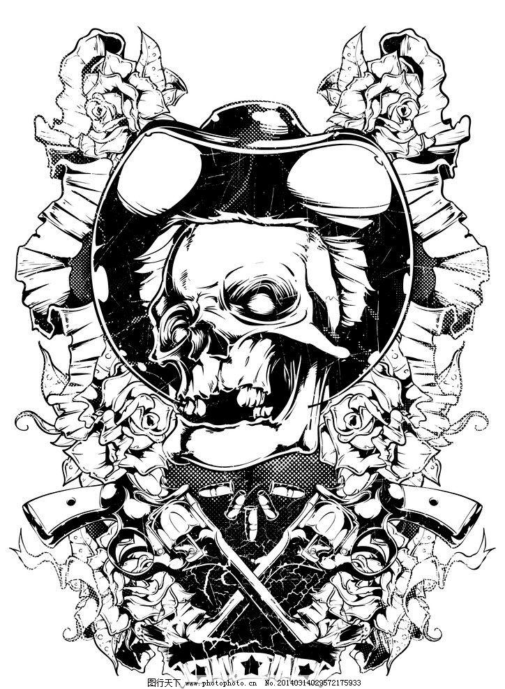 t恤图案 服装设计 骷髅 手绘 复古 怀旧 恐怖 纹身 背景 底纹