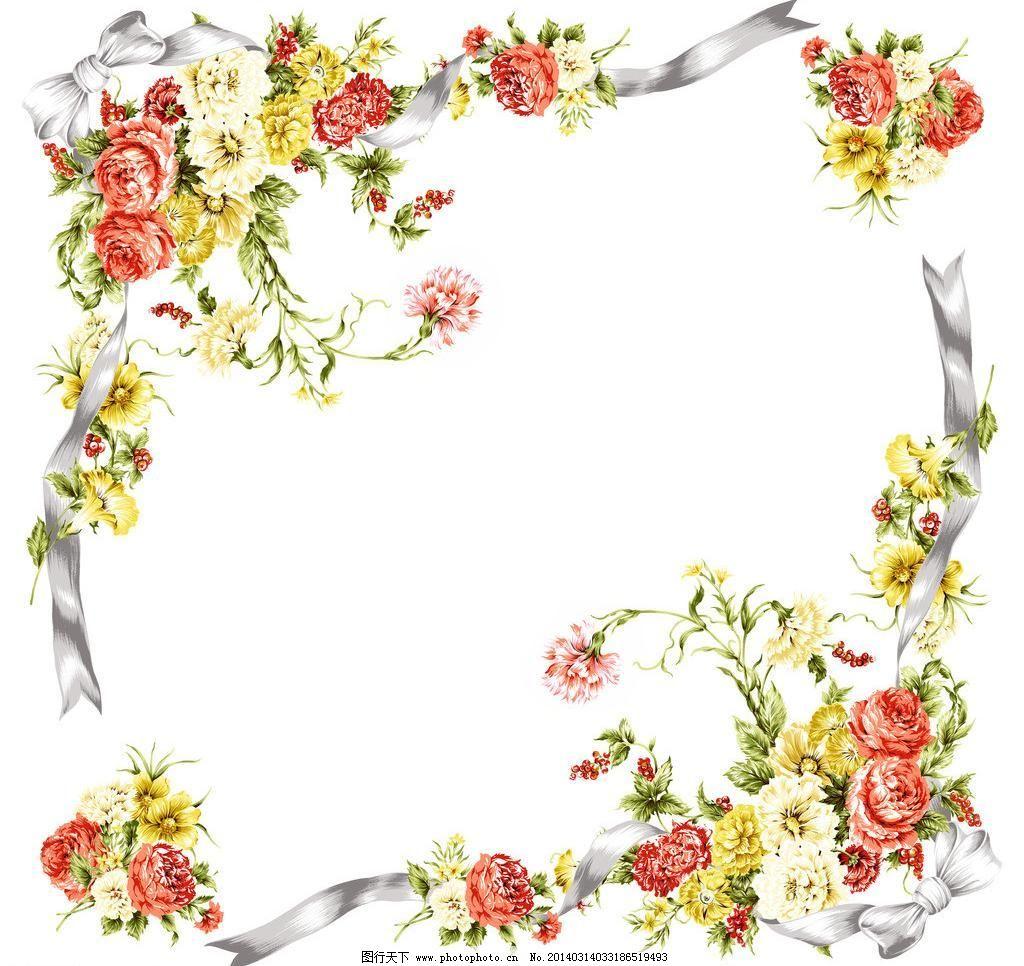 背景 背景素材 边框 底纹 韩国设计素材库 花纹 方巾花 民族风图案
