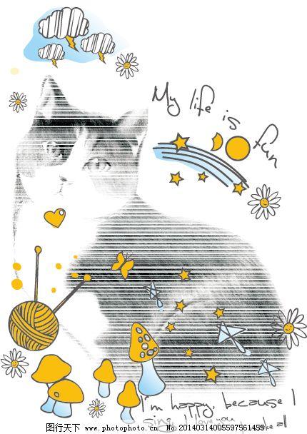 t恤图案 黑白线条 卡通动画 猫 蘑菇 手绘素材 英文字母 猫 黑白线条