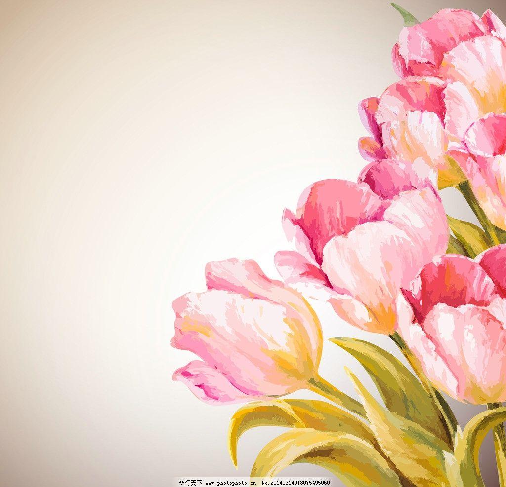水墨花卉 手绘花卉 绿叶 郁金香 鲜花 油画 花瓣 花草背景 花草