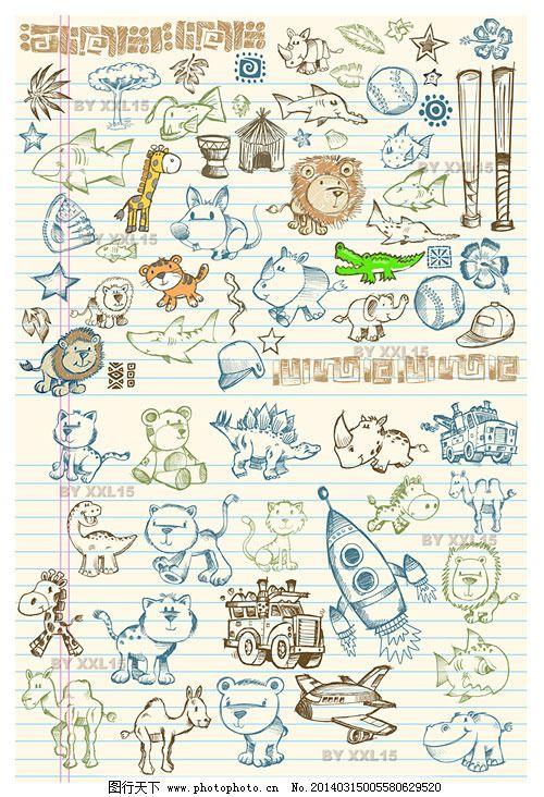 河马 小猫 卡通 可爱 铅笔画 大象 鳄鱼 矢量素材 棒球 鼓 飞机 猴子