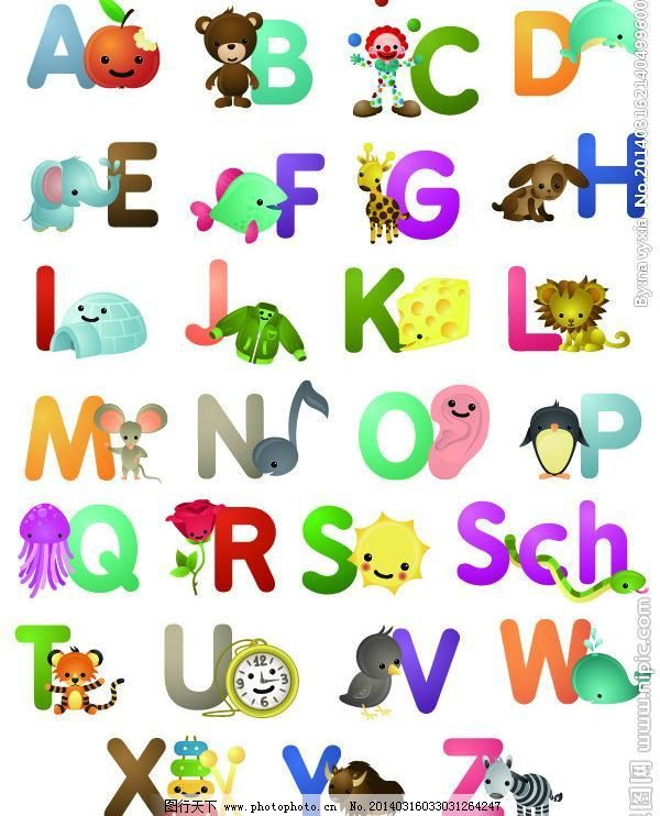 26个字母儿童简笔画内容图片展示