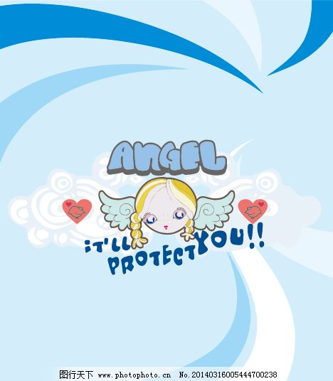 小女孩天使ai下载免费下载 卡通女孩 蓝色漩涡背景 英文字母 云朵素材