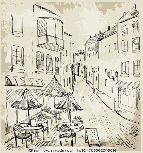 欧式场景手绘稿04——矢量素材 插画 街道 速写 线条 表 矢量图