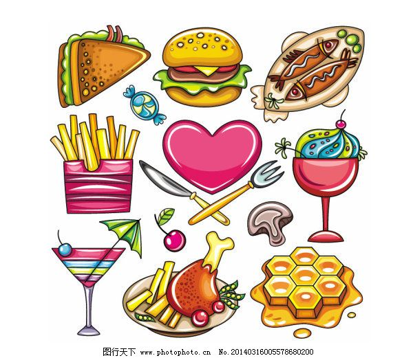 卡通食物01—矢量素材 汉堡 鸡腿 烤鱼 奶酪 三明治 糖果 糖果图片