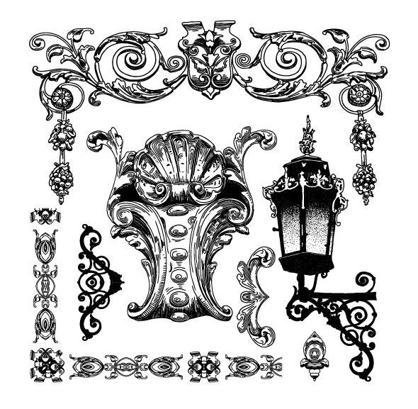 欧式花纹边框05-矢量素材 边角 灯 雕花 花样 手绘 纹样 纹样