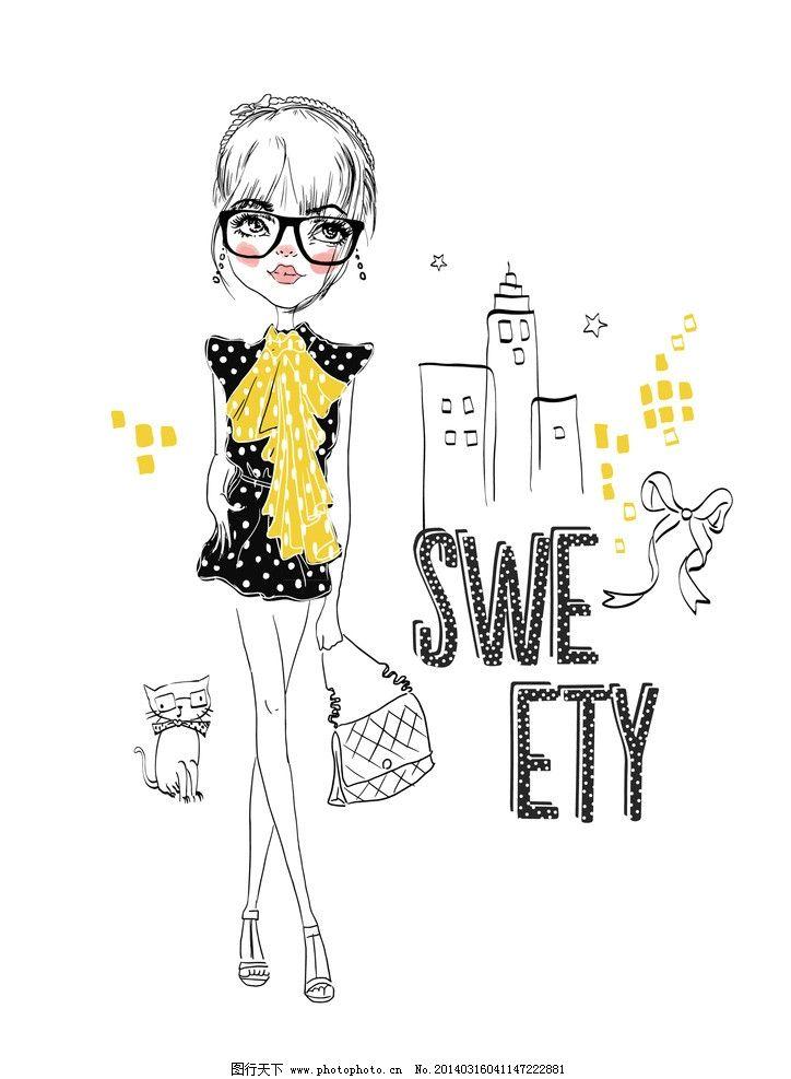 手绘美女 手绘少女 女孩 女人 时尚 少女 购物 逛街 时尚女孩速写插图