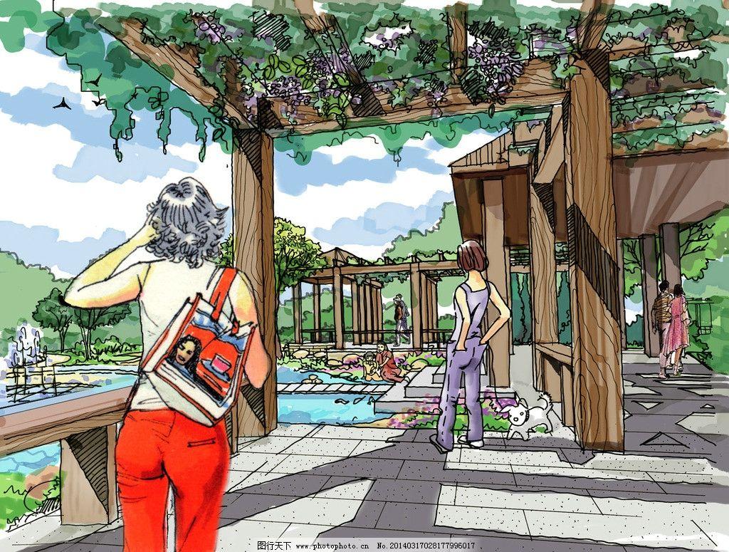 廊架透视效果图 手绘 中心景观区 文本 公园设计