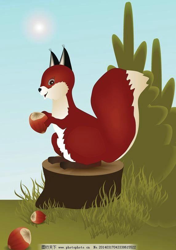 松鼠小动物设计 松鼠 卡通松鼠 小动物 卡通动物 动物设计 时尚背景