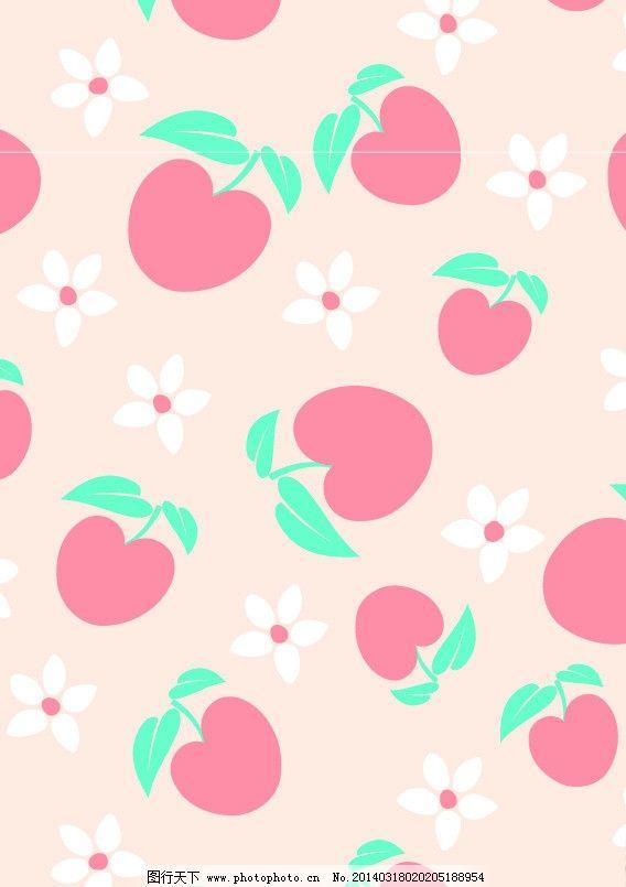 水果 樱桃 花朵 布花 花布 面料 流行面料 四方连续 唯美背景 卡通