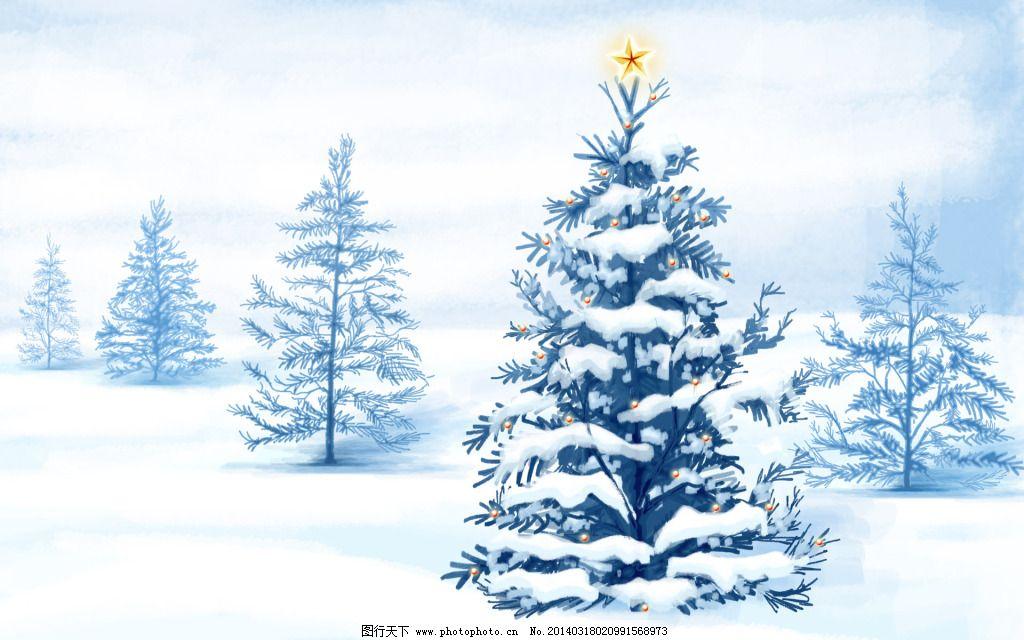 森林雪地壁纸图片_背景图片_底纹边框_图行天下图库