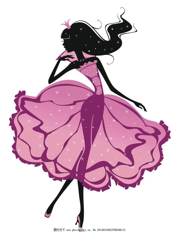 手绘少女 女孩 女人 时尚 少女 美丽 浪漫 女性 女子 剪影 公主 素描
