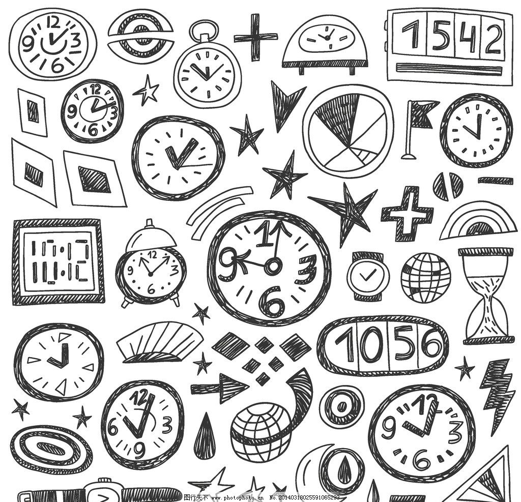 时钟闹钟 时钟 闹钟 刻度 手绘 倒时计 时间 钟表 矢量素材 生活用品