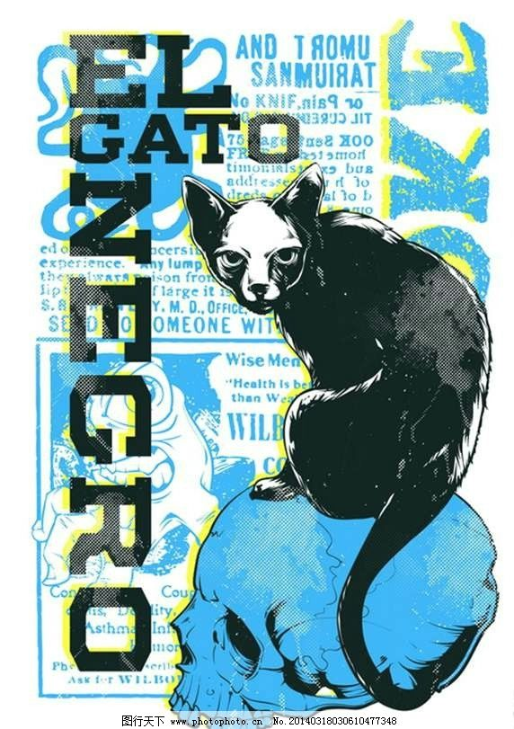 t恤图案欧美纹身设计 小熊猫 动物 哥特花纹 哥特图案 摇滚花纹