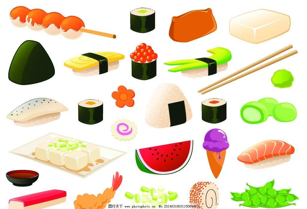 寿司手绘图插画