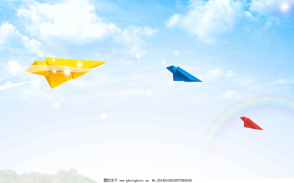 纸飞机 童年 卡通 梦想