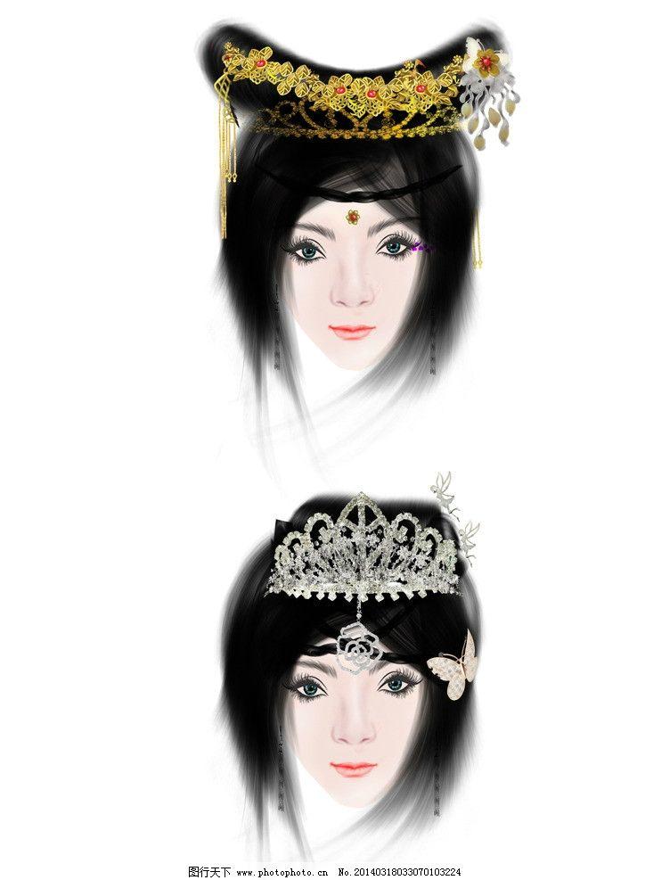 手绘美女 古代美女 手绘美女素材 珠钗 耳坠 珠宝 五官素材 五官