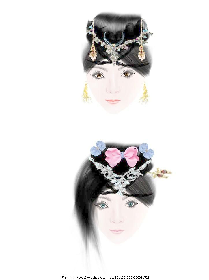 手绘美女模板下载 手绘美女 古代美女 手绘美女素材 珠钗 耳坠 珠宝