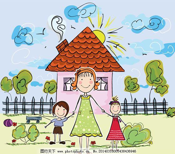 可爱一家 可爱一家免费下载 房屋 卡通 一家人 矢量图 矢量人物