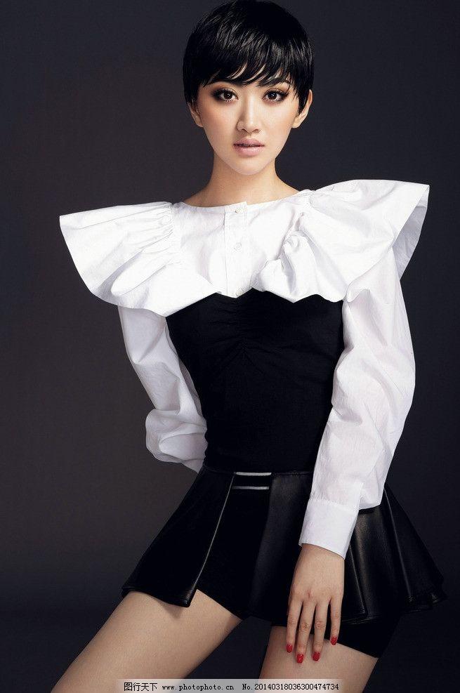 景甜 明星 美女 演员 短发 白衣 黑色短裙 明星偶像 人物图库 摄影 72图片
