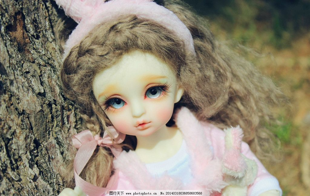 sd娃娃 兔子 女孩 可爱 春天 阳光 卷发 sd 娃娃 bjd 粉嫩 大树 枯枝