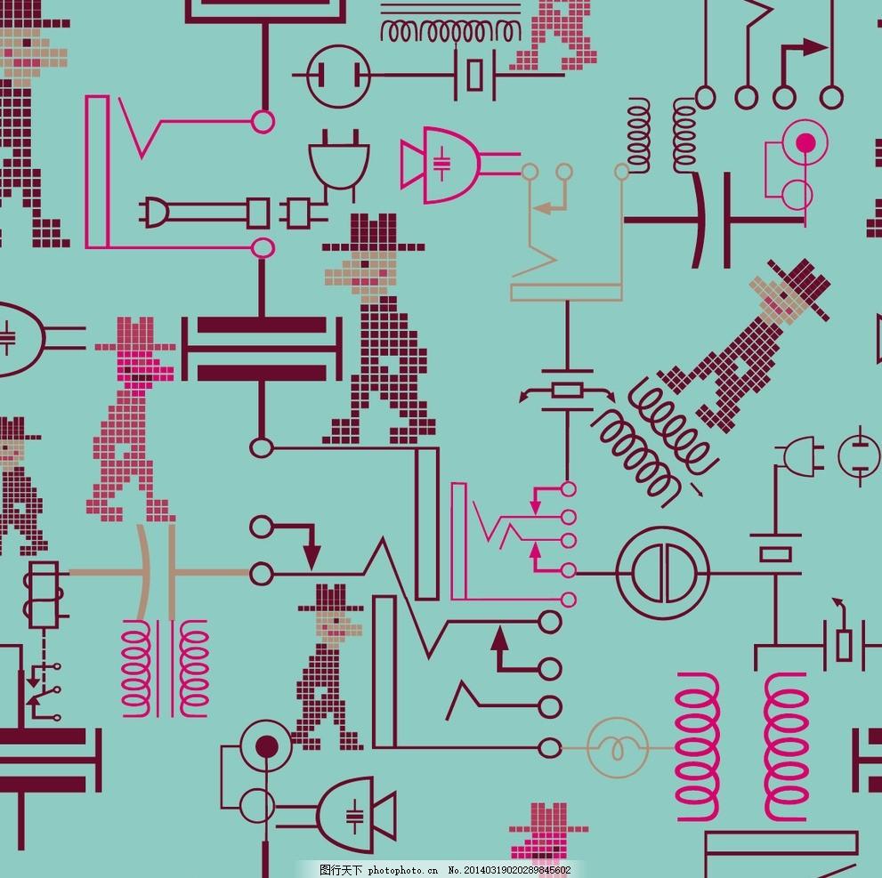 抽象电路简图底纹背景