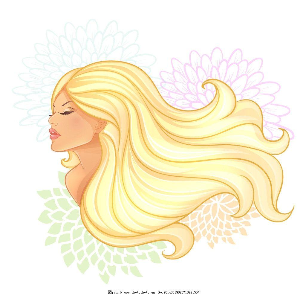 手绘少女 女孩 女人 时尚 少女 女性剪影 花纹 花卉 美丽 发型 美发
