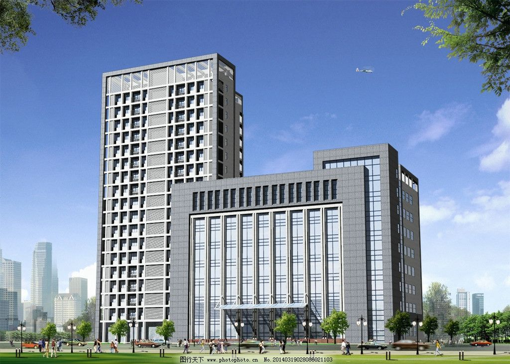 办公楼外观装饰效果图图片_建筑设计_环境设计_图行