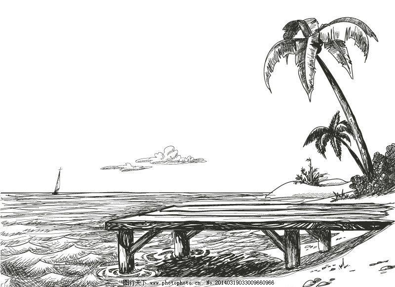 手绘海边风景图片
