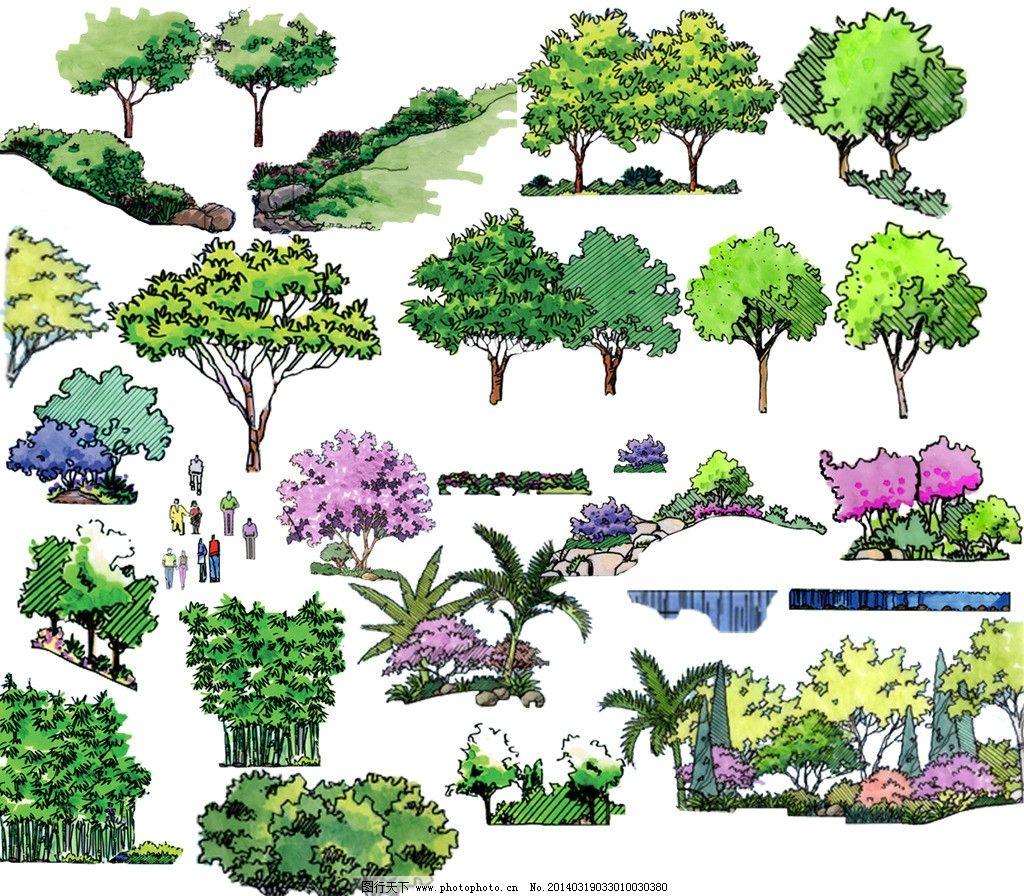 风景园林设计 景观设计 景观手绘 景观素材 立面树 psd分层素材 源