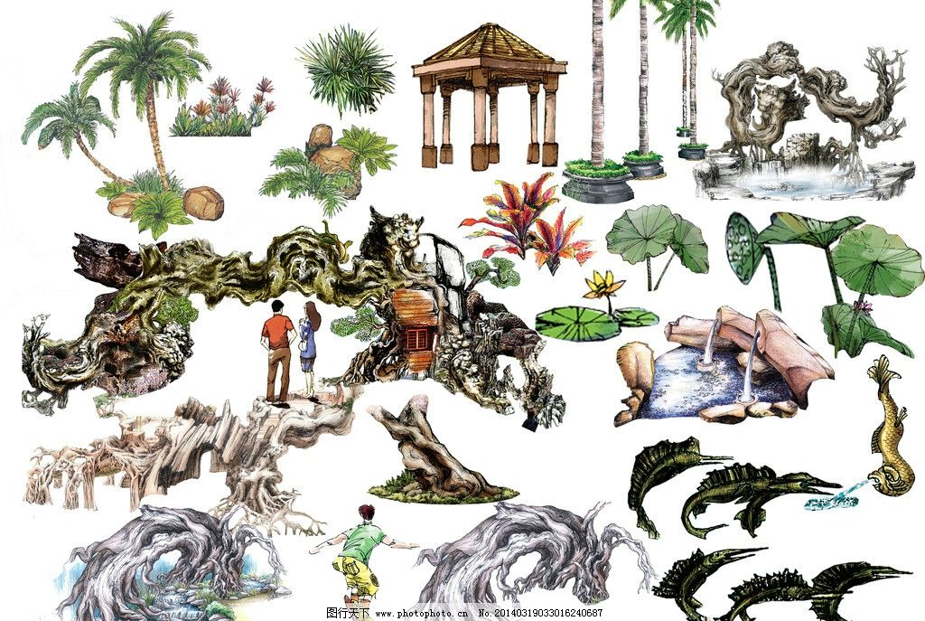 ps景观手绘立面素材 风景园林设计 景观设计 景观素材 立面树
