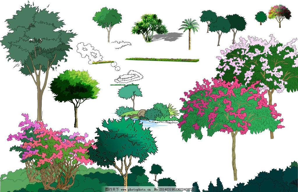 ps景观手绘立面素材 风景园林设计 景观设计 景观手绘 景观素材 立面