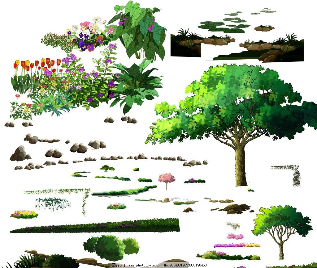 ps景观手绘立面素材图片