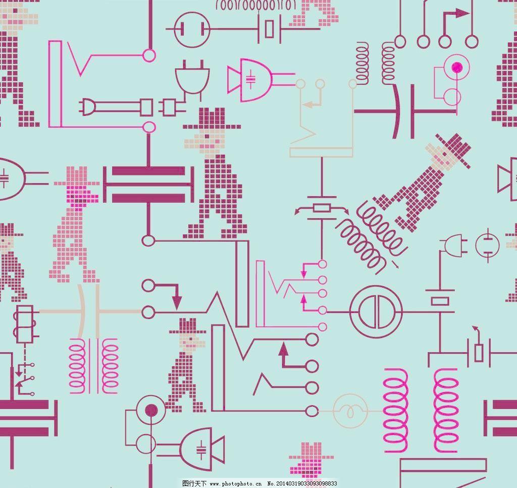 底纹边框 抽象电路简图底纹背景矢量素材 抽象电路简图底纹背景模板