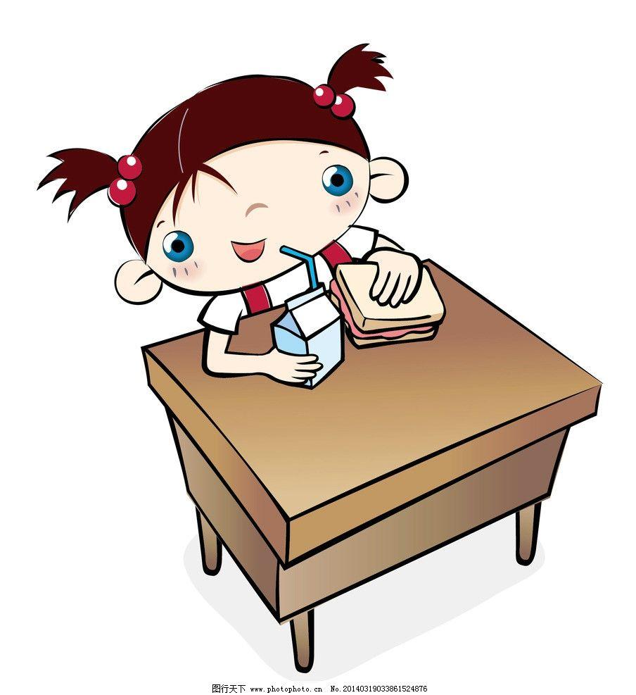吃三明治喝牛奶的女孩 插画 水墨 水彩 背景画 动漫 卡通 童话世界图片