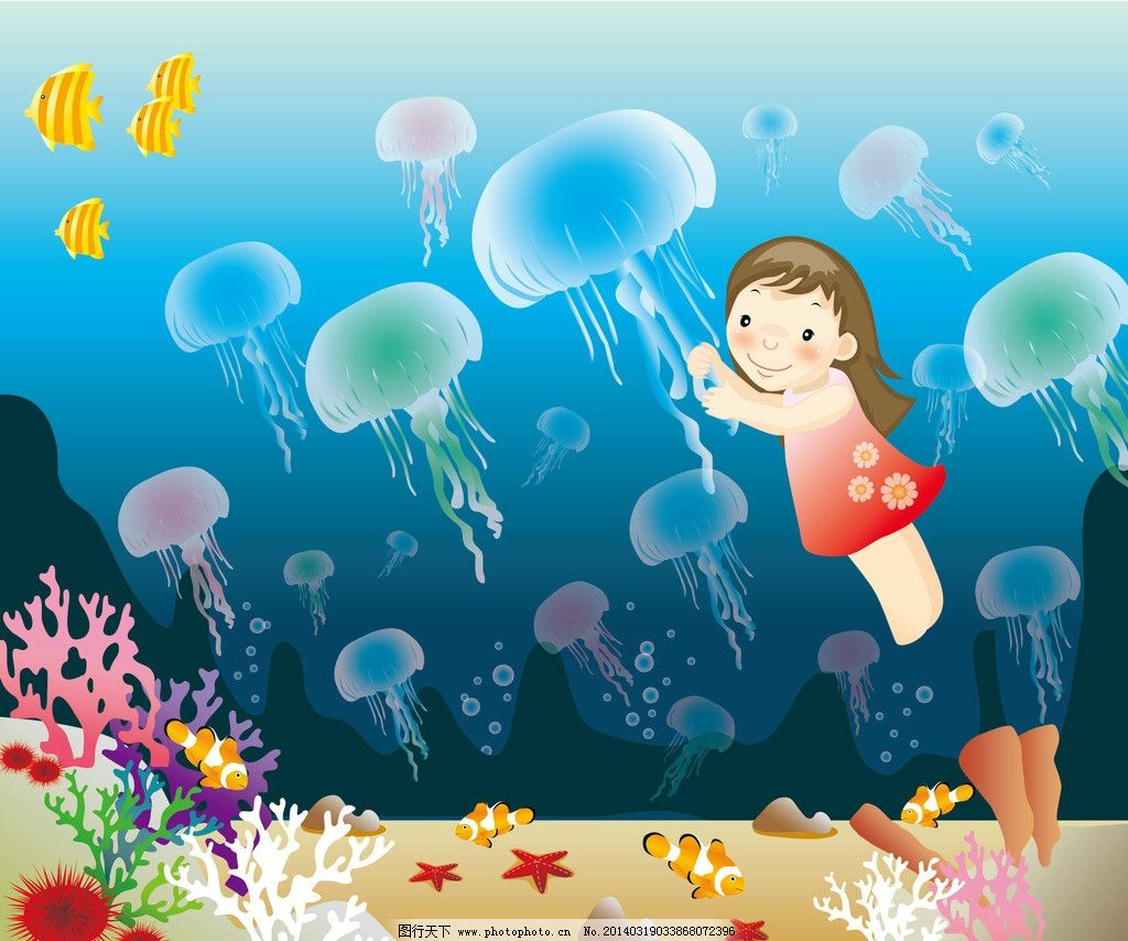拉着水母游泳的女孩图片