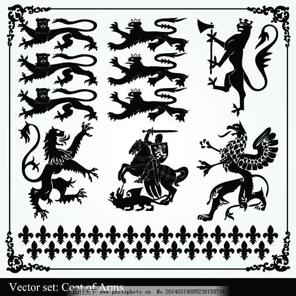 欧式狮子 狮子剪影 剪影 欧式装饰 复古装饰 狮子 盾牌 欧式花纹 矢量