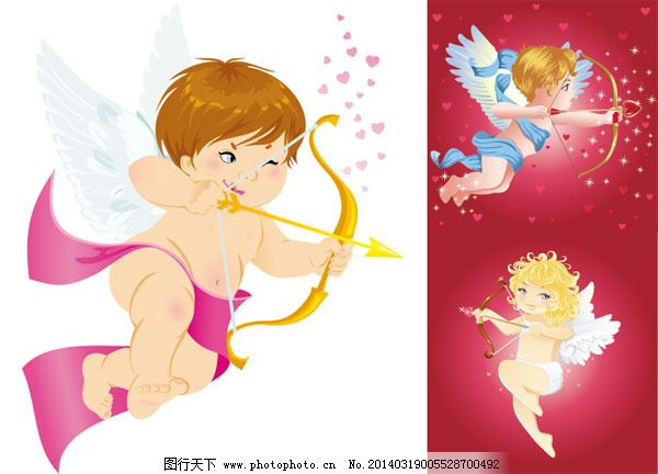 爱神天使矢量素材免费下载 爱情 爱神 爱神丘比特 缠绕 翅膀 飘带