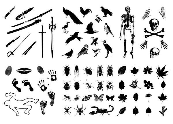 刀剑小鸟骷髅印记昆虫树叶剪影矢量素材 蝉 唇印 枫叶 公鸡 骨架