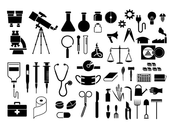 各种剪影元素矢量素材-物品(54个元素)