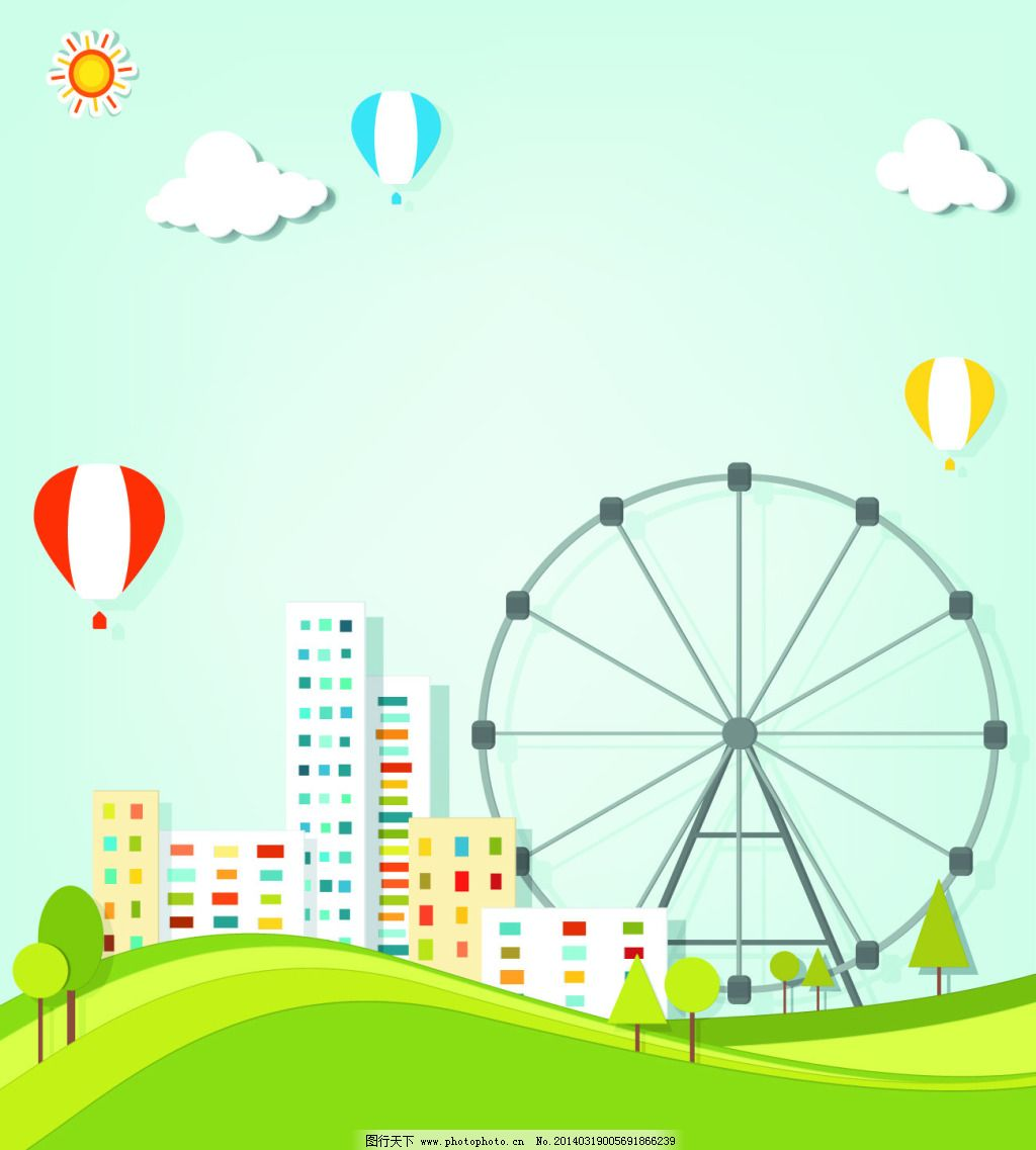 矢量城市小清新卡通图片免费下载 城市 街道 摩天轮 气球 树 太阳
