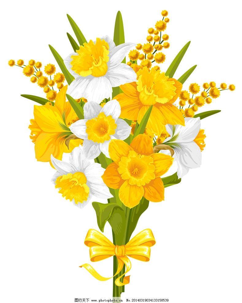 手绘花卉 花卉 春天 绿叶 黄花 春季 花纹花卉 鲜花 花草背景 花草 生