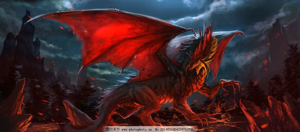 动漫怪兽 动漫动画 游戏 天空 乌云 火光 山脉 森林 恐鸟 动物